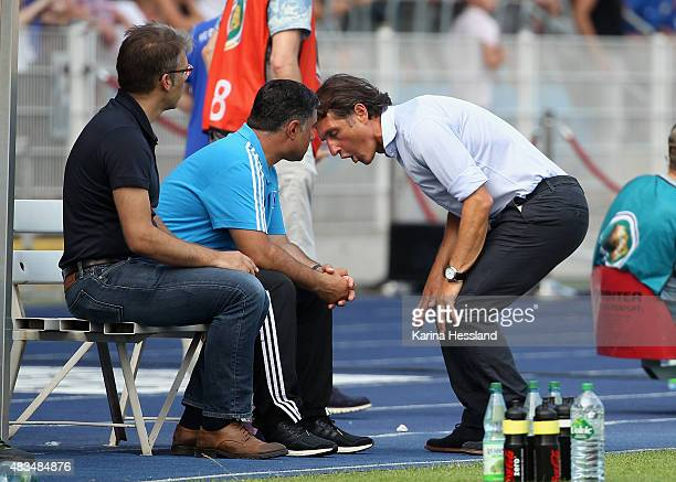 Headcoach Bruno Labbadia of Hamburger SV reacts during the First Round of DFBCup between FC Carl Zeiss Jena and Hamburger SV at ErnstAbbeSportfeld on...
