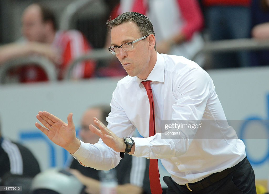 Headcoach <a gi-track='captionPersonalityLinkClicked' href=/galleries/search?phrase=Chris+Fleming&family=editorial&specificpeople=730495 ng-click='$event.stopPropagation()'>Chris Fleming</a> of Brose Baskets Bamberg reacts during the match between Brose Baskets Bamberg and FC Bayern Muenchen at Stechert Arena on April 13, 2014 in Bamberg, Germany.