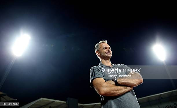 Headcoach Christian Wueck of Germany smiles during the Under 17 four nations tournament match between U17 Germany and U17 Netherlands at Steigerwald...
