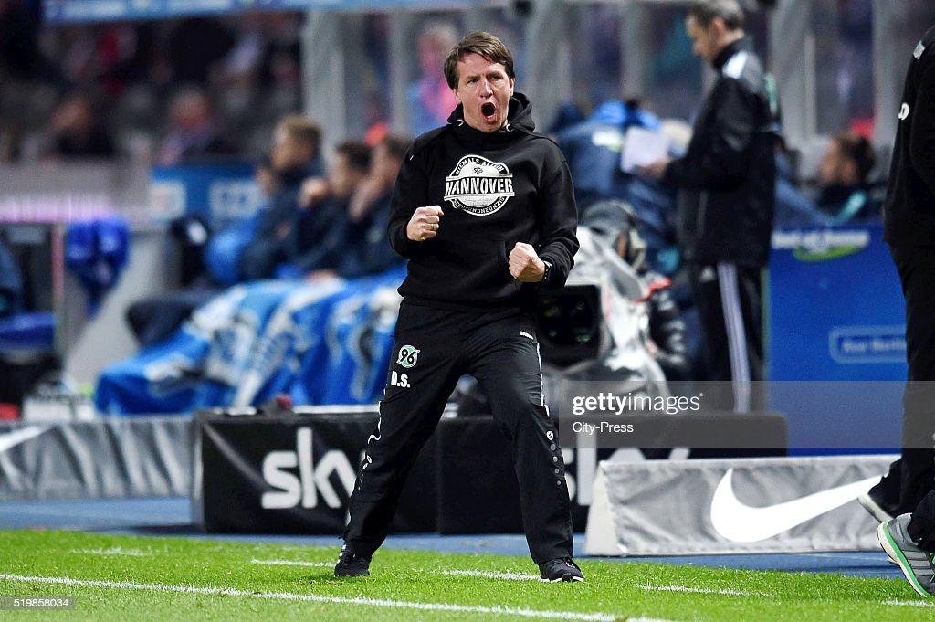 Headcoach Daniel Stendel of Hannover 96 during the Bundesliga match between Hertha BSC and Hannover 96 at Olympiastadion on April 8, 2016 in Berlin, Germany.