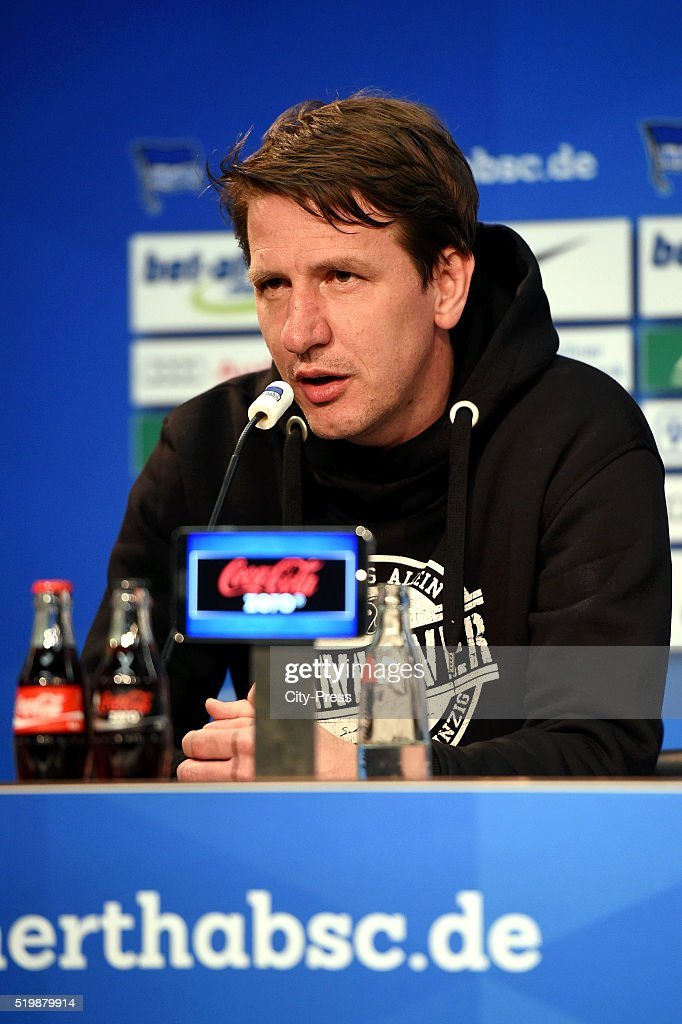 Headcoach Daniel Stendel of Hannover 96 during the press conference after the match between Hertha BSC and Hannover 96 at Olympiastadion on April 8, 2016 in Berlin, Germany.