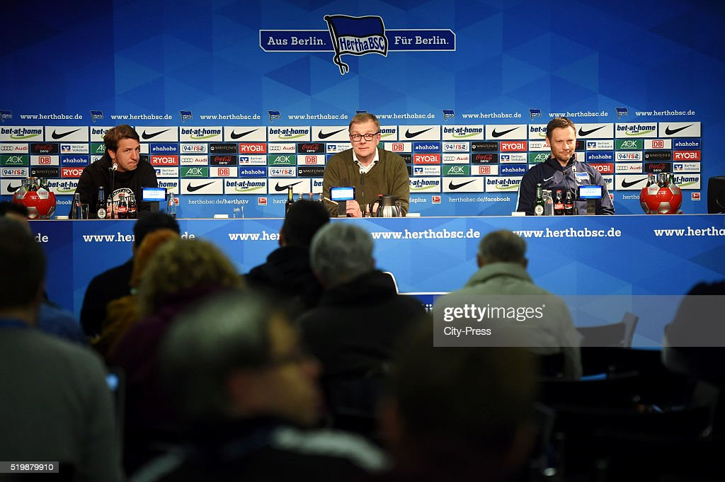 Headcoach Daniel Stendel of Hannover 96, spokesman Peter Bohmbach and coach Pal Dardai of Hertha BSC during the press conference after the match between Hertha BSC and Hannover 96 at Olympiastadion on April 8, 2016 in Berlin, Germany.