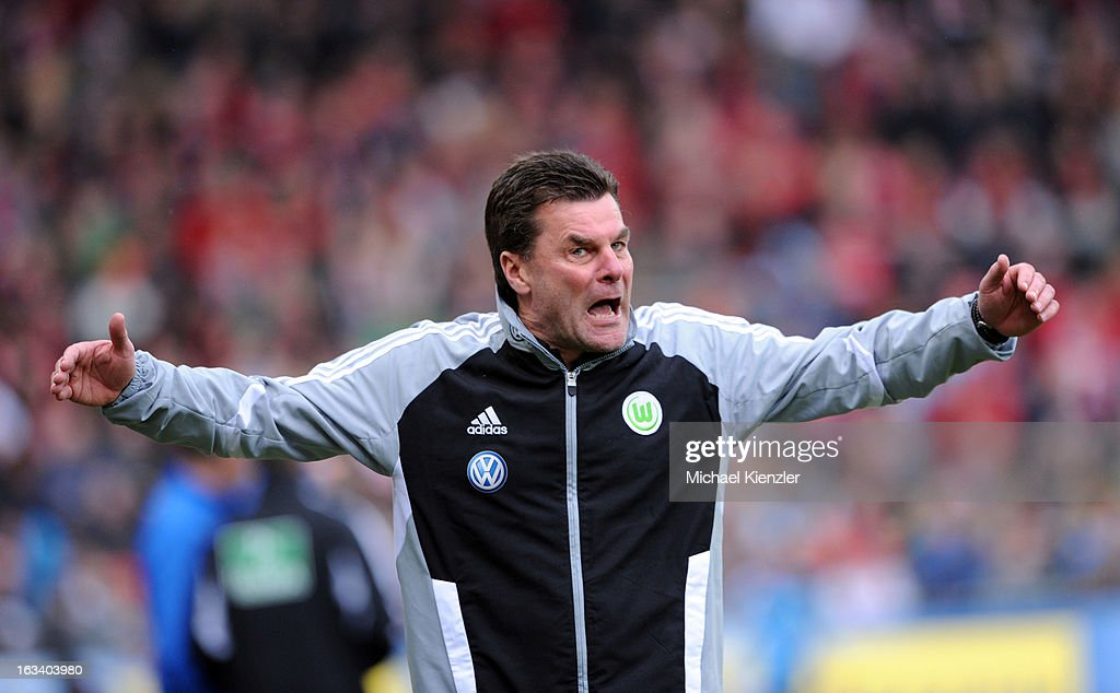 Headcoach Dieter Hecking of Wolfsburg reacts during the Bundesliga match between SC Freiburg and VfL Wolfsburg at MAGE SOLAR Stadium on March 9, 2013 in Freiburg, Germany.
