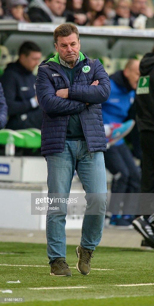 Headcoach Dieter Hecking of Wolfsburg reacts during the Bundesliga match between VfL Wolfsburg and Hertha BSC Berlin at Volkswagen Arena on March 19, 2016 in Wolfsburg, Germany.