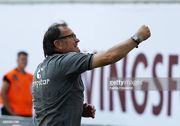 Headcoach Ewald Lienen of St Pauli reacts after the Second League match between RB Leipzig and FC StPauli at RedBull Arena on August 23 2015 in...