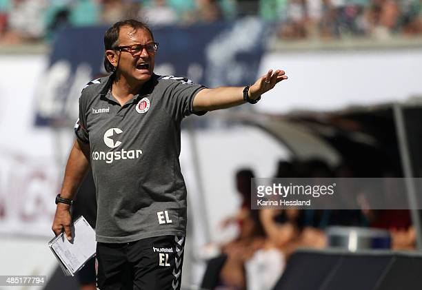 Headcoach Ewald Lienen of St Pauli reacts during the Second League match between RB Leipzig and FC StPauli at RedBull Arena on August 23 2015 in...