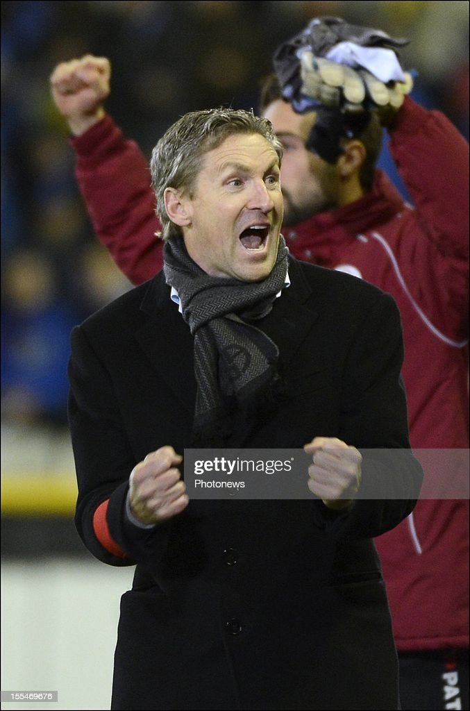 Headcoach Francky Dury of Zulte celebrates during the Jupiler Pro league match between Club Brugge and Zulte Waregem on November 4, in Brugge, Belgium.