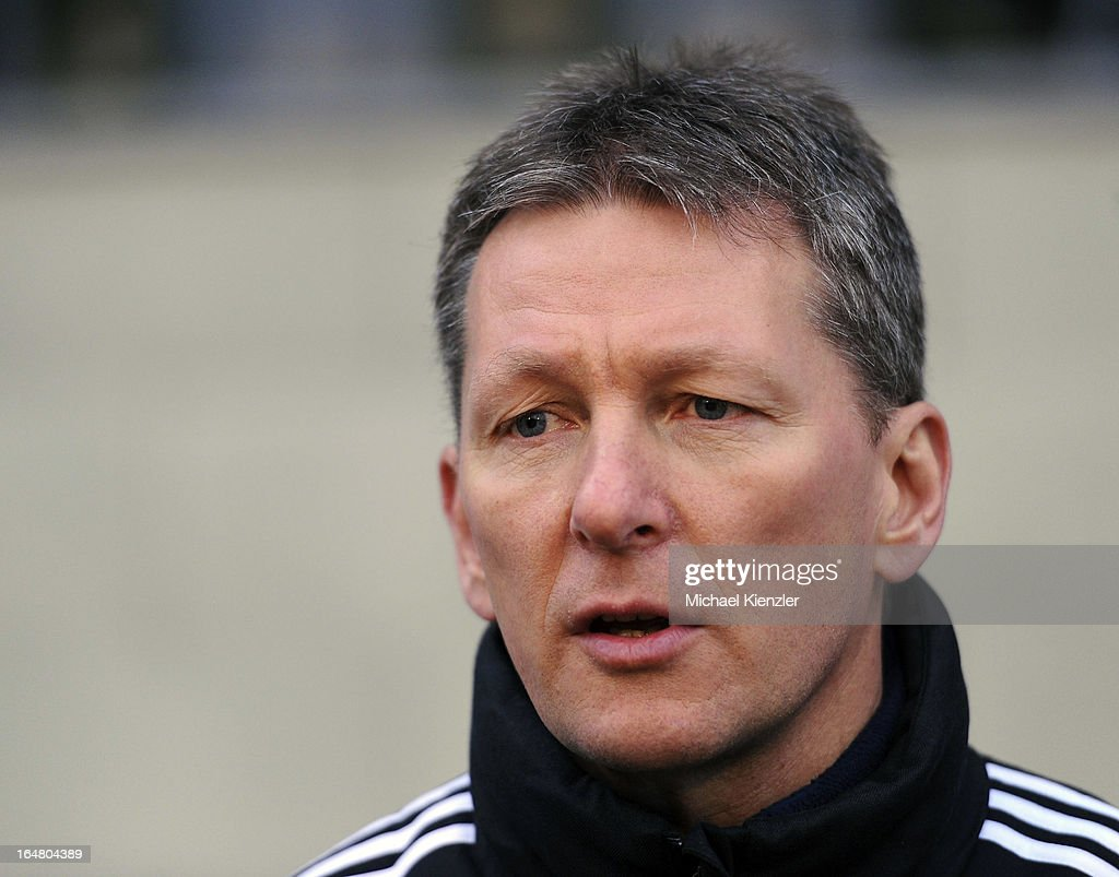 Headcoach Frank Wormuth of Germany looks on during the international friendly match between U20 Switzerland and U20 Germany at Eps Stadium on March 26, 2013 in Baden, Switzerland