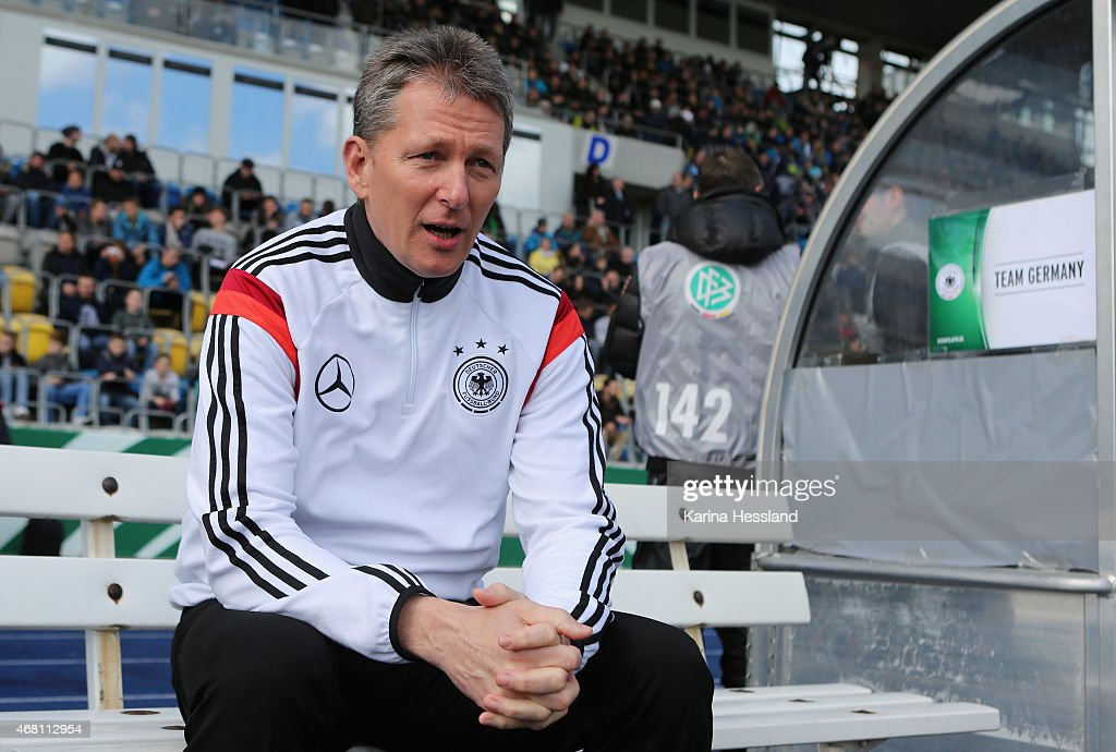 Headcoach Frank Wormuth of Germany reacts during the International Friendly match between U20 Germany and U20 Poland at ErnstAbbeSportfeld on March...