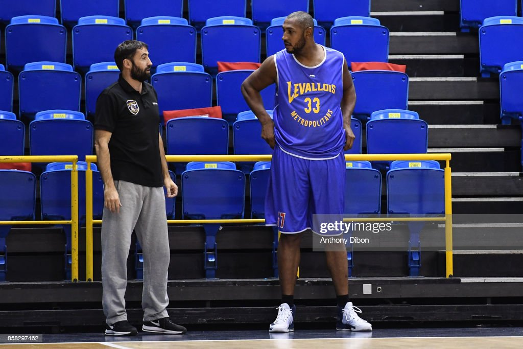 Headcoach Frederic Fauthoux and Boris Diaw during training session of Levallois Metropolitans on October 6, 2017 in Levallois-Perret, France.