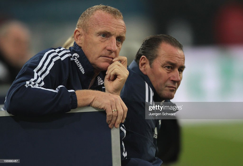 Headcoach <a gi-track='captionPersonalityLinkClicked' href=/galleries/search?phrase=Huub+Stevens&family=editorial&specificpeople=2380209 ng-click='$event.stopPropagation()'>Huub Stevens</a> of Schalke (R) sits beside <a gi-track='captionPersonalityLinkClicked' href=/galleries/search?phrase=Josef+Eichkorn&family=editorial&specificpeople=710110 ng-click='$event.stopPropagation()'>Josef Eichkorn</a> near the pitch during the Bundesliga match between FC Schalke 04 and Werder Bremen at Veltins-Arena on November 10, 2012 in Gelsenkirchen, Germany.