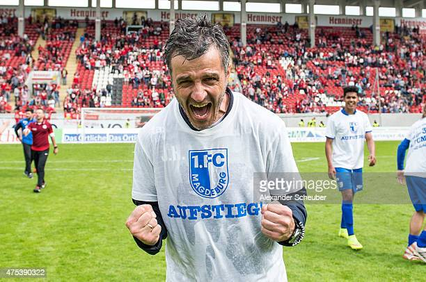 headcoach Jens Haertel of Magdeburg celebrates during the Regionalliga Playoff match between Kickers Offenbach and 1 FC Magdeburg at...
