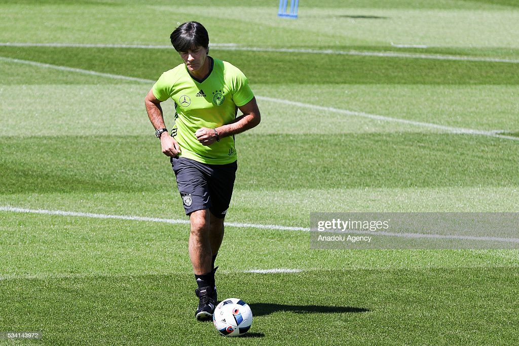 Head-Coach Joachim Loew of German National Football Team attends a training session at Lago Maggiore in Ascona, Switzerland on May 25, 2016. Germany's national soccer preparing for the upcoming UEFA EURO 2016 to be held in France in a training camp in Ascona, Switzerland, until 03 June.