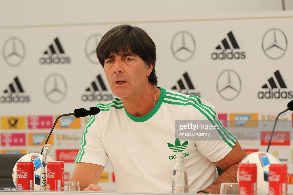 Head-Coach Joachim Loew of German National Football Team talks to media after a training session at Lago Maggiore in Ascona, Switzerland on May 25, 2016. Germany's national soccer preparing for the upcoming UEFA EURO 2016 to be held in France in a training camp in Ascona, Switzerland, until 03 June.