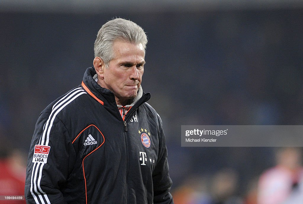 Headcoach <a gi-track='captionPersonalityLinkClicked' href=/galleries/search?phrase=Jupp+Heynckes&family=editorial&specificpeople=2062040 ng-click='$event.stopPropagation()'>Jupp Heynckes</a> of Bayern Munich reacts during the friendly match between FC Basel and Bayern Munich at Stadium St. Jakob on January 12, 2013 in Basel, Switzerland.
