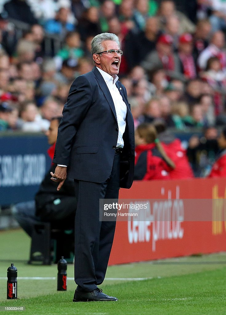 Headcoach Jupp Heynckes of Muenchen reacts during the Bundesliga match between Werder Bremen and Bayern Muenchen at Weser Stadium on September 29, 2012 in Bremen, Germany.
