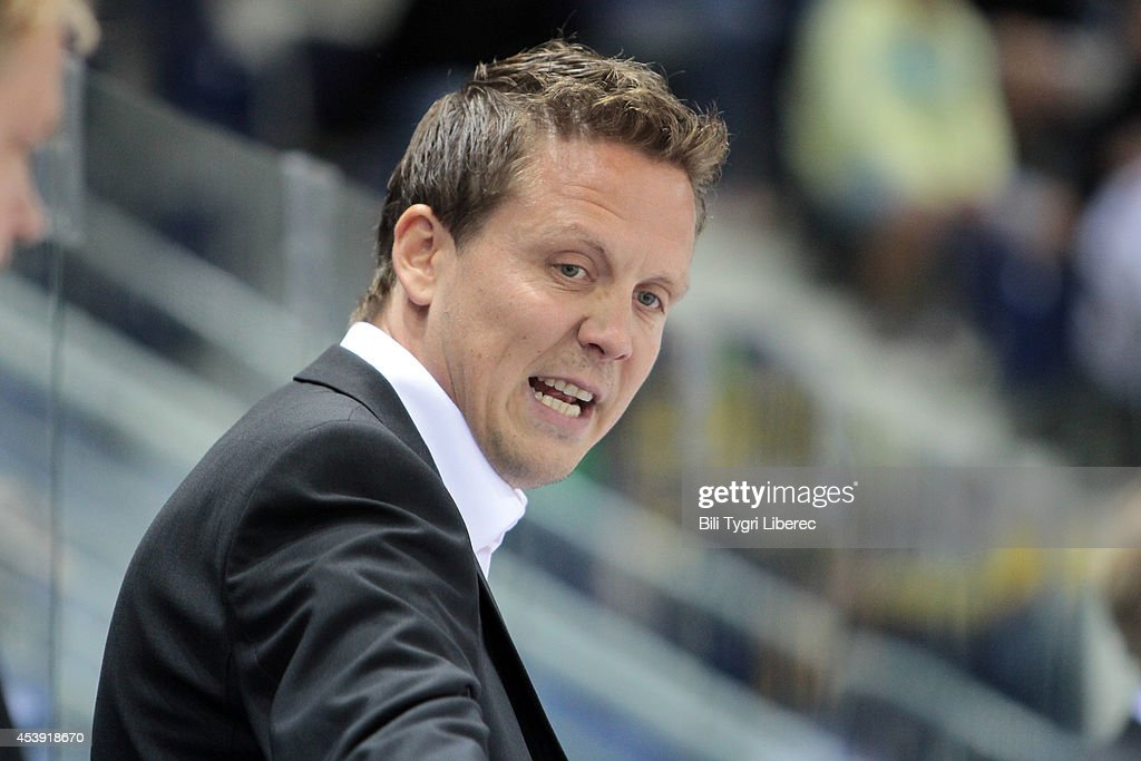 Headcoach Lauri Marjamaki of Karpat Oulu during the Champions Hockey League group stage game between Bili Tygri Liberec and Karpat Oulu on August 21, 2014 in Liberec, Czech Republic.