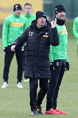 Headcoach Lucien Favre and Thorben Marx of Borussia Moenchengladbach during a training session of Borussia Moenchengladbach on January 29 2015 in...