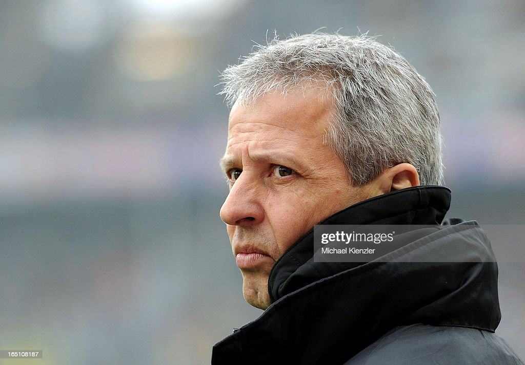 Headcoach <a gi-track='captionPersonalityLinkClicked' href=/galleries/search?phrase=Lucien+Favre&family=editorial&specificpeople=4313368 ng-click='$event.stopPropagation()'>Lucien Favre</a> of Borussia Moenchengladbach before the Bundesliga match between SC Freiburg and VfL Borussia Moenchengladbach at MAGE SOLAR Stadium on March 30, 2013 in Freiburg, Germany.