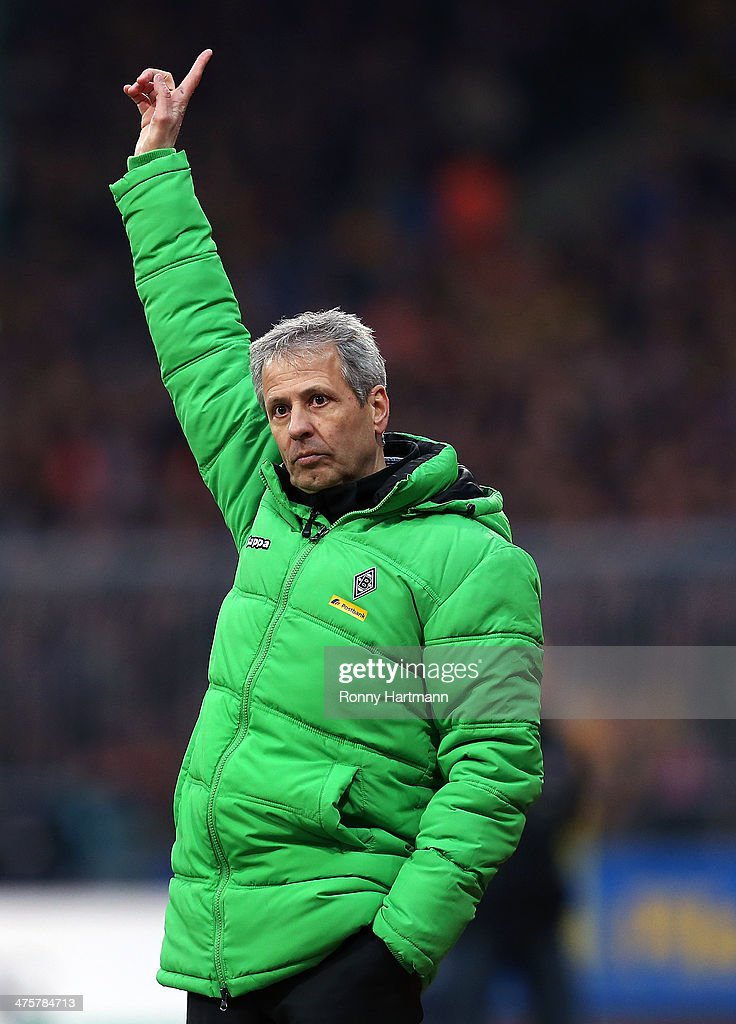 Headcoach <a gi-track='captionPersonalityLinkClicked' href=/galleries/search?phrase=Lucien+Favre&family=editorial&specificpeople=4313368 ng-click='$event.stopPropagation()'>Lucien Favre</a> of Moenchengladbach reacts during the Bundesliga match between Eintracht Braunschweig and Borussia Moenchengladbach at Eintracht Stadion on March 1, 2014 in Braunschweig, Germany.