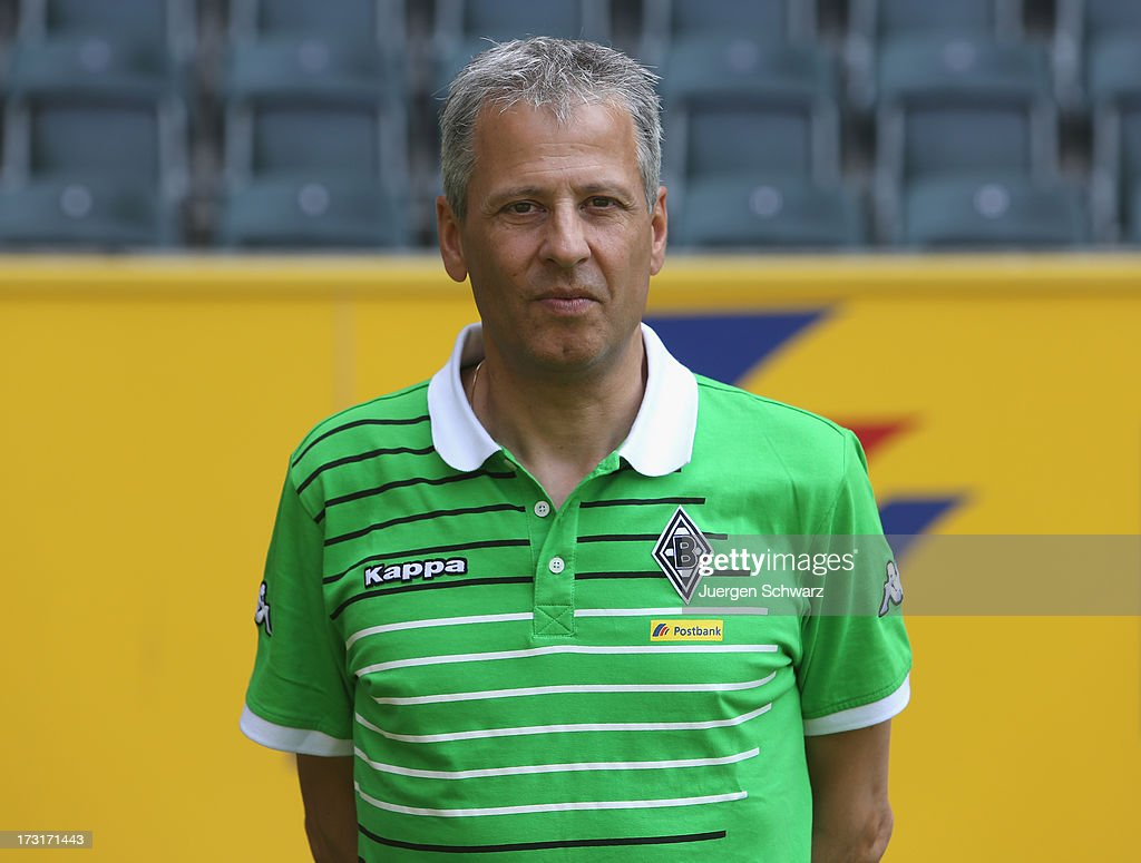 Headcoach <a gi-track='captionPersonalityLinkClicked' href=/galleries/search?phrase=Lucien+Favre&family=editorial&specificpeople=4313368 ng-click='$event.stopPropagation()'>Lucien Favre</a> poses during the team presentation of Borussia Moenchengladbach at on July 9, 2013 in Moenchengladbach, Germany.