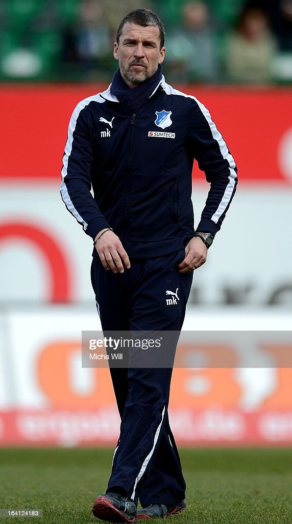 headcoach Marco Kurz of Hoffenheim looks on prior to the Bundesliga match between SpVgg Greuther Fuerth and TSG 1899 Hoffenheim at TrolliArena on...