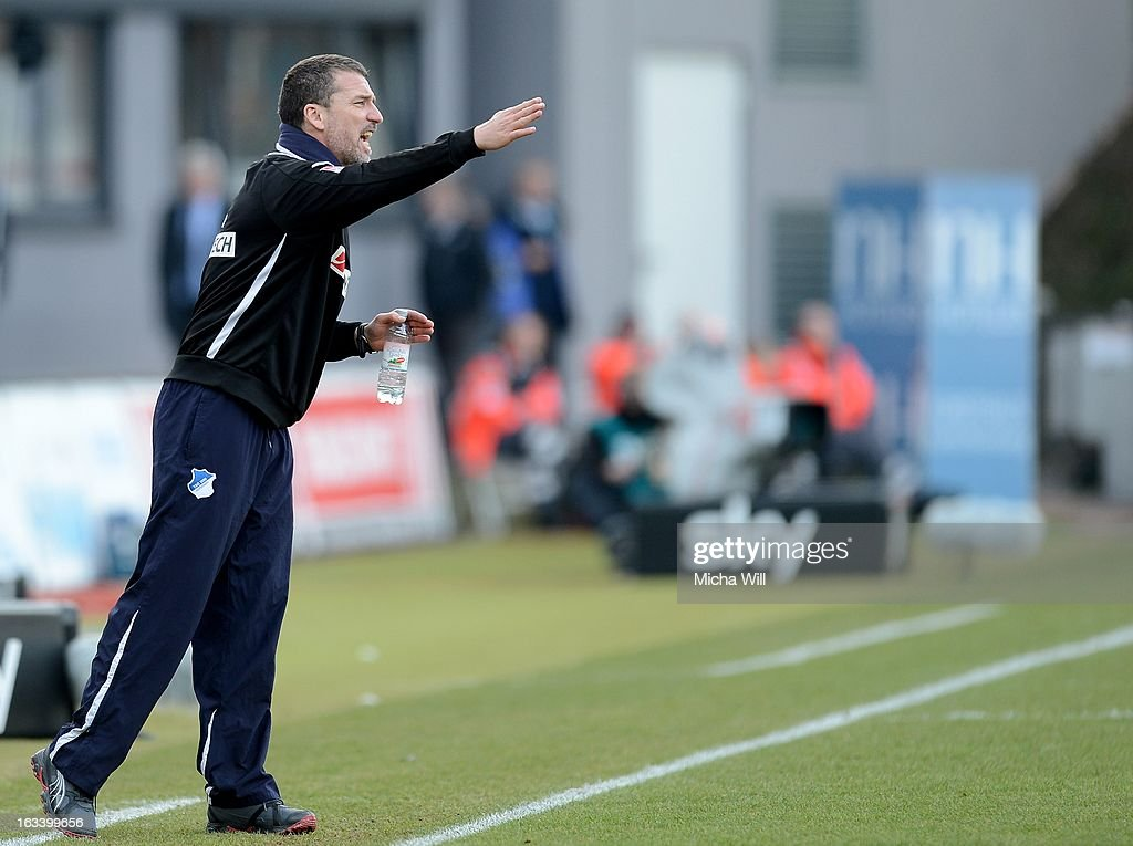 headcoach Marco Kurz of Hoffenheim reacts during the Bundesliga match between SpVgg Greuther Fuerth and TSG 1899 Hoffenheim at TrolliArena on March 9...