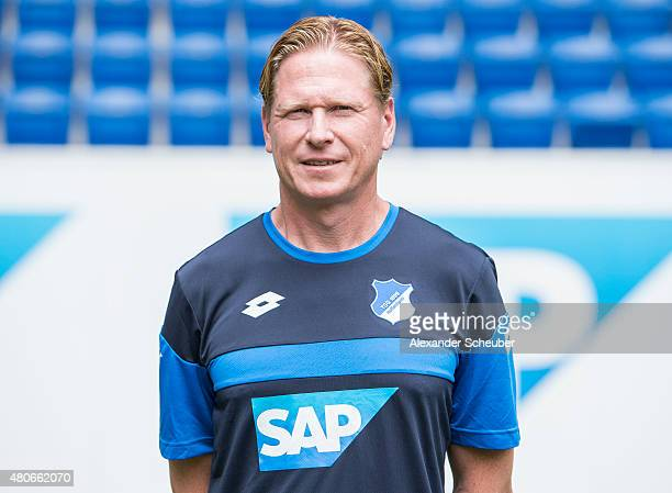 headcoach Markus Gisdol poses during the team presentation of 1899 Hoffenheim at Wirsol RheinNeckarArena on July 14 2015 in Sinsheim Germany