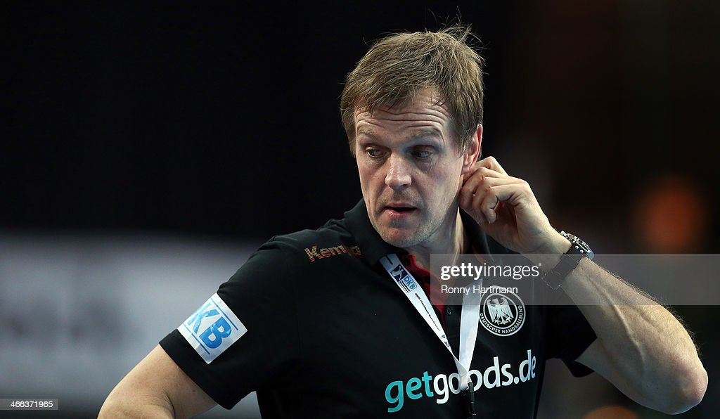 Headcoach <a gi-track='captionPersonalityLinkClicked' href=/galleries/search?phrase=Martin+Heuberger&family=editorial&specificpeople=2084797 ng-click='$event.stopPropagation()'>Martin Heuberger</a> of Germany reacts during the All Star Game 2014 between Germany and the Handball Bundesliga Allstars at Arena Leipzig on February 1, 2014 in Leipzig, Germany.