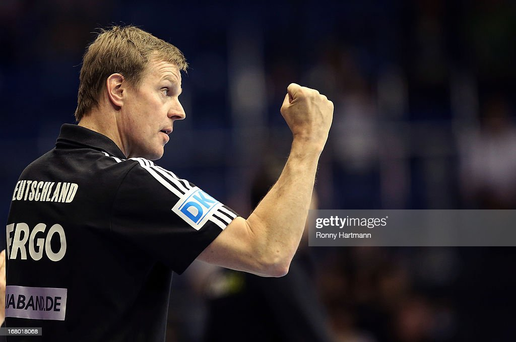Headcoach <a gi-track='captionPersonalityLinkClicked' href=/galleries/search?phrase=Martin+Heuberger&family=editorial&specificpeople=2084797 ng-click='$event.stopPropagation()'>Martin Heuberger</a> of Germany reacts during the International handball friendly match between Germany and Slovenia at Getec-Arena on May 4, 2013 in Magdeburg, Germany.
