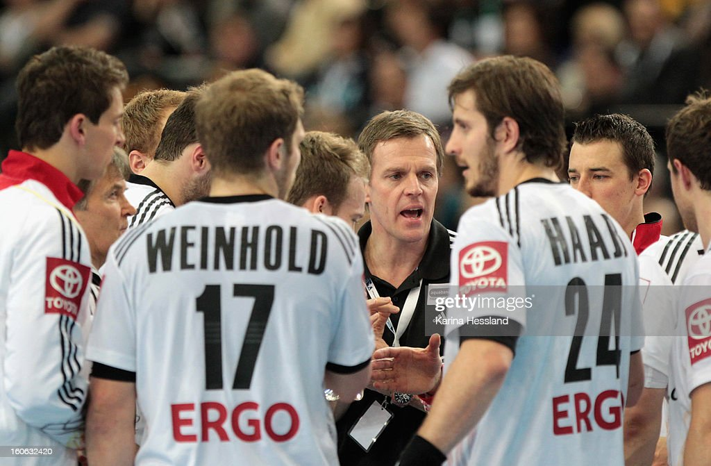 Headcoach <a gi-track='captionPersonalityLinkClicked' href=/galleries/search?phrase=Martin+Heuberger&family=editorial&specificpeople=2084797 ng-click='$event.stopPropagation()'>Martin Heuberger</a> of Germany speaks to his Team during the match between Germany and Bundesliga All Stars on February 2, 2013 in Leipzig, Germany.