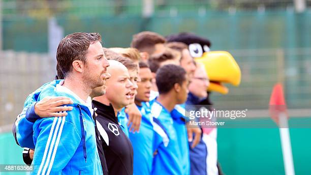Headcoach Meikel Schoenweitz of U17 Germany reacts during the match between U17 Germany v U17 Netherlands at Sportpark Vinnenweg on September 13 2015...