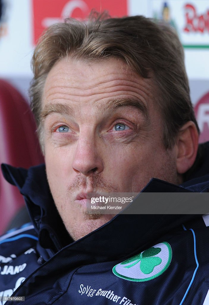 Headcoach Michael Bueskens of Fuerth reacts before the Bundesliga match between SC Freiburg and SpVgg Greuther Fuerth at Mage Solar Stadium on December 8, 2012 in Freiburg, Germany.