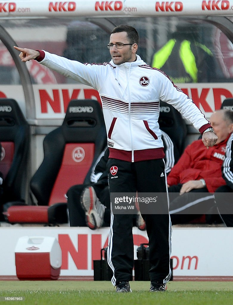 headcoach Michael Wiesinger of Nuernberg reacts during the Bundesliga Match between 1. FC Nuernberg and SC Freibug at Grundig Stadion on March 2, 2013 in Nuremberg, Germany.