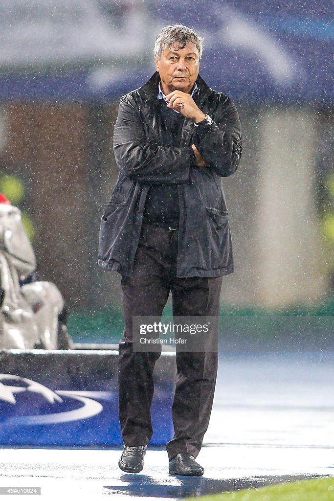 Headcoach <a gi-track='captionPersonalityLinkClicked' href=/galleries/search?phrase=Mircea+Lucescu&family=editorial&specificpeople=5511022 ng-click='$event.stopPropagation()'>Mircea Lucescu</a> of Donetsk reacts on the touchline during the UEFA Champions League: Qualifying Round Play Off First Leg match between SK Rapid Vienna and FC Shakhtar Donetsk on August 19, 2015 in Vienna, Austria.