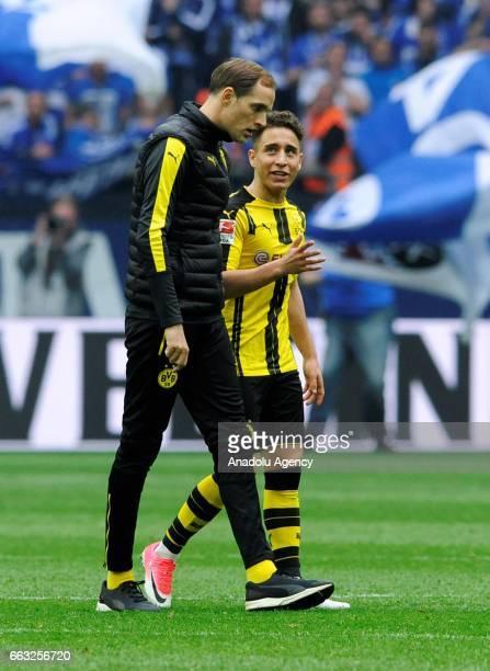 Headcoach of Borussia Dortmund Thomas Tuchel talks with Emre Mor of Borussia Dortmund after the German Bundesliga soccer match between FC Schalke 04...