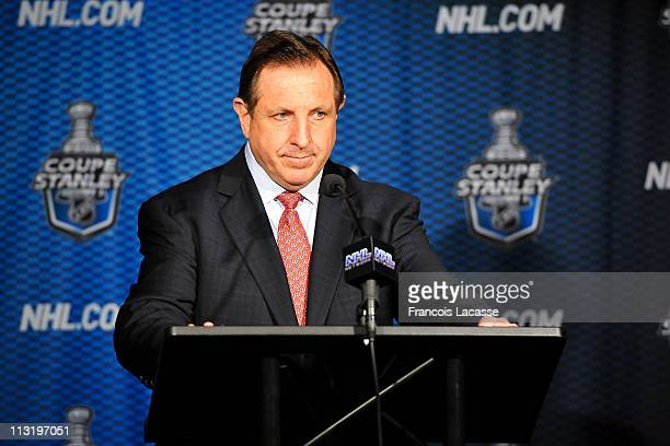 Headcoach of the Montreal Canadiens Jacques Martinat the post game press conference after Game Six of the Eastern Conference Quarterfinals during the...