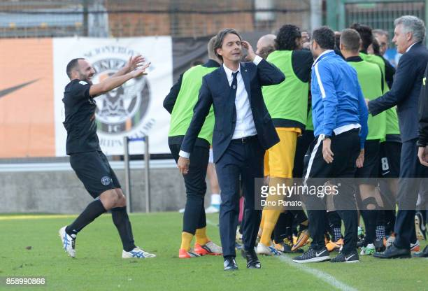 Headcoach of Venezia Filippo Inzaghi celebrates after Pinato's goal during the Serie B match between Venezia FC and FC Carpi at Stadio Pier Luigi...