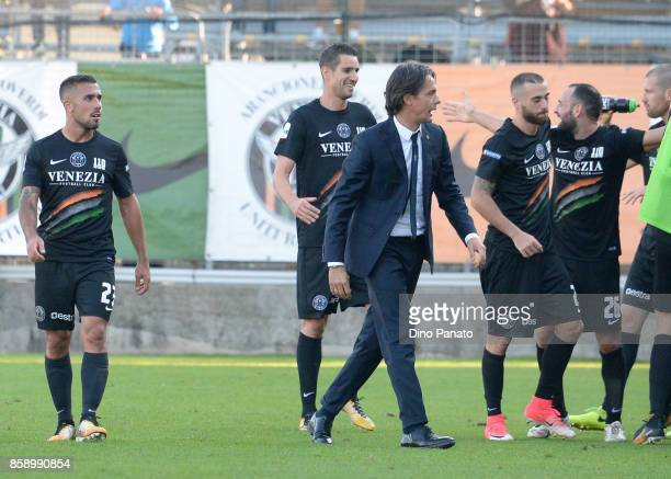 Headcoach of Venezia Filippo Inzaghi celebrates during the Serie B match between Venezia FC and FC Carpi at Stadio Pier Luigi Penzo on October 8 2017...