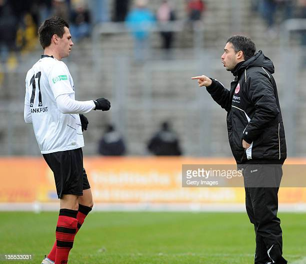 Headcoach Oscar Corrochano of Frankfurt and Denis Streker during the Regionalliga Sued match between Hessen Kassel and Eintracht Frankfurt II on...