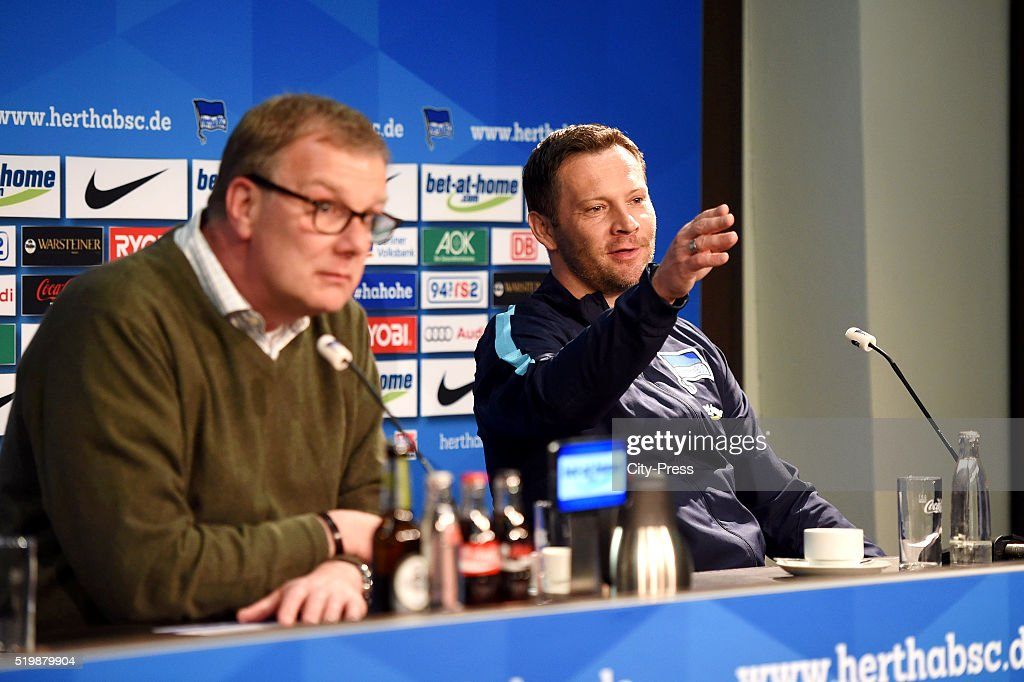 Headcoach Pal Dardai of Hertha BSC during the press conference after the match between Hertha BSC and Hannover 96 at Olympiastadion on April 8, 2016 in Berlin, Germany.