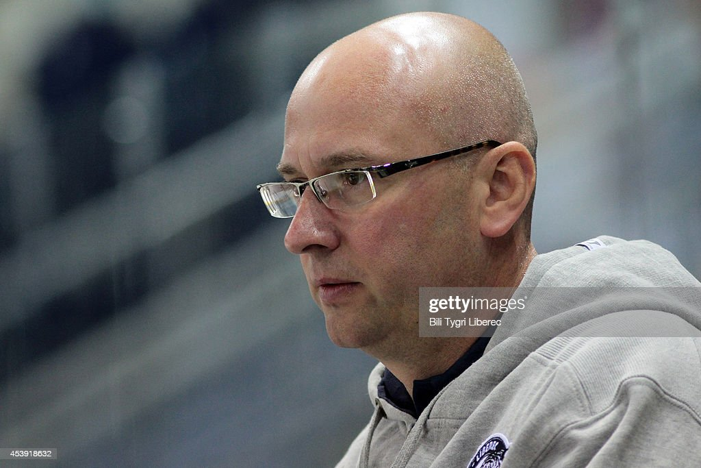 Headcoach Pavel Hynek of Bili Tygri Liberec during the Champions Hockey League group stage game between Bili Tygri Liberec and Karpat Oulu on August 21, 2014 in Liberec, Czech Republic.