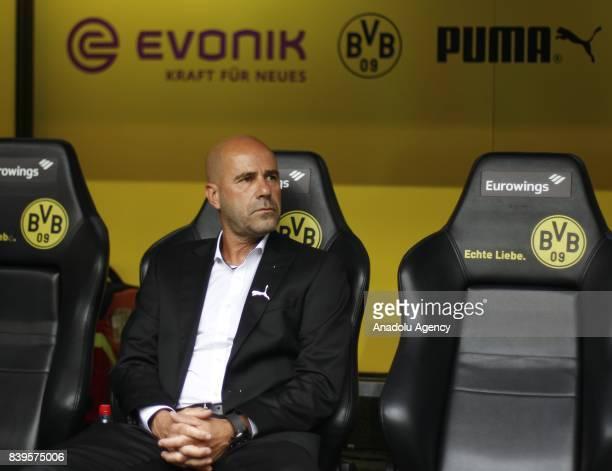 Headcoach Peter Bosz of Borussia Dortmund is seen before the Bundesliga soccer match between Borussia Dortmund and Hertha BSC Berlin at the Signal...