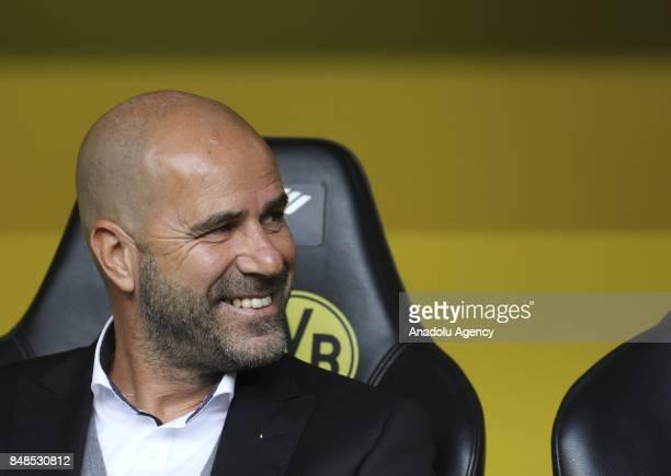 Headcoach Peter Bosz of Borussia Dortmund is seen before the Bundesliga soccer match between Borussia Dortmund and 1FC Cologne at the Signal Iduna...