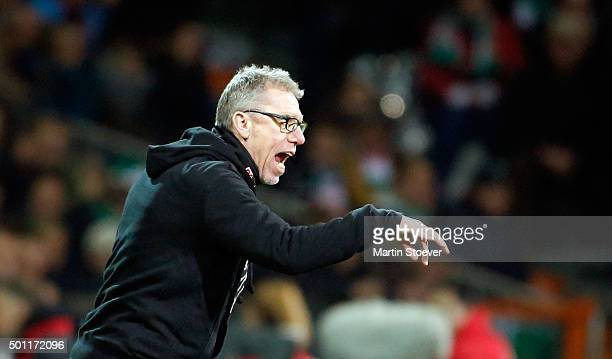 Headcoach Peter Stoeger of Koeln during the Bundesliga match between Werder Bremen and 1 FC Koeln at Weserstadion on December 12 2015 in Bremen...