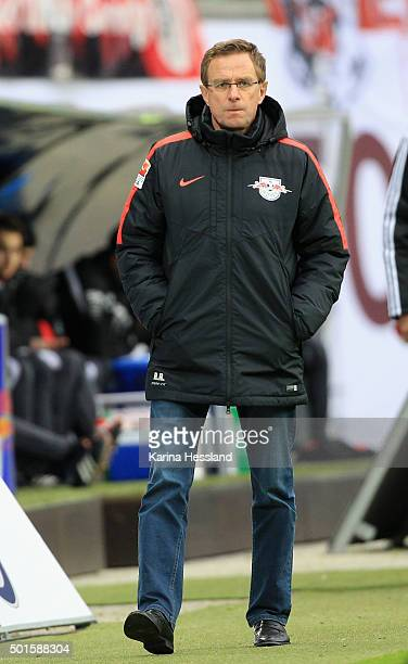Headcoach Ralf Rangnick of Leipzig looks dejected during the Second Bundesliga match between RB Leipzig and FSV Frankfurt at Red Bull Arena on...