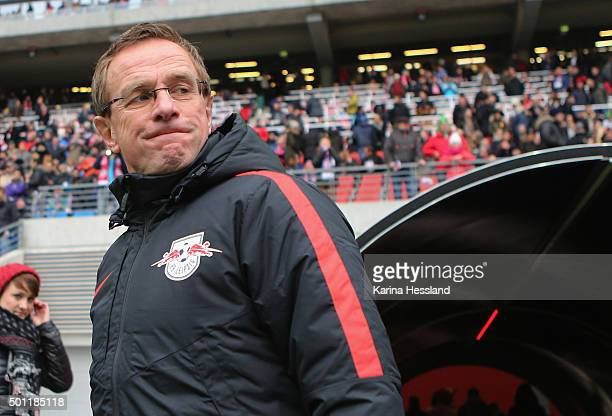 Headcoach Ralf Rangnick of Leipzig looks on before the Second Bundesliga match between RB Leipzig and FSV Frankfurt at Red Bull Arena on December 13...