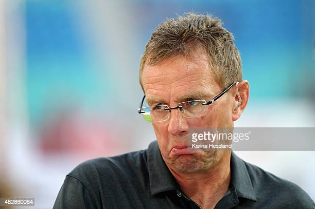 Headcoach Ralf Rangnick of Leipzig reacts during the Second Bundesliga match between RB Leipzig and SpVgg Greuther Fuerth at Red Bull Arena on August...