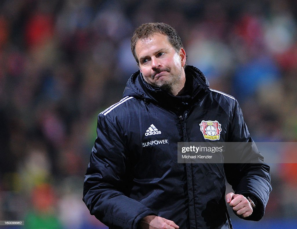 Headcoach <a gi-track='captionPersonalityLinkClicked' href=/galleries/search?phrase=Sascha+Lewandowski&family=editorial&specificpeople=5134760 ng-click='$event.stopPropagation()'>Sascha Lewandowski</a> of Leverkusen reacts after the Bundesliga match between SC Freiburg and Bayer 04 Leverkusen at MAGE SOLAR Stadium on January 26, 2013 in Freiburg, Germany.