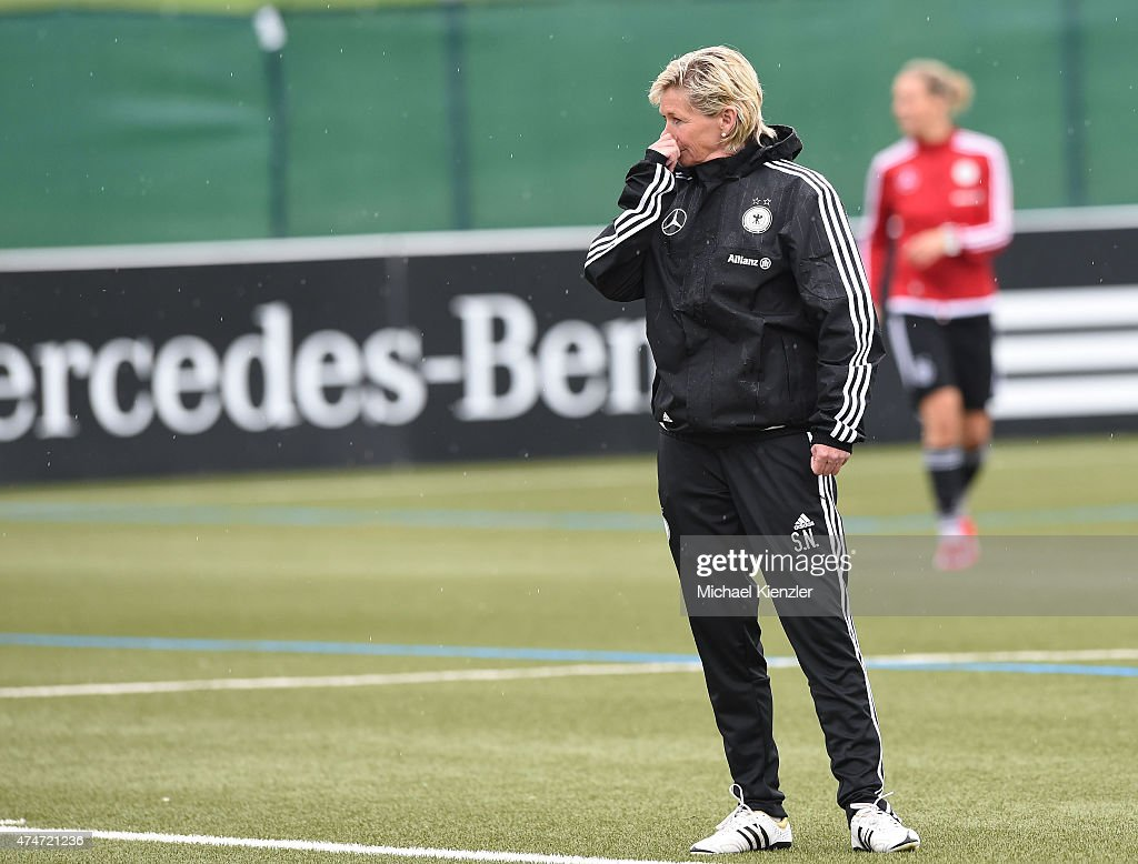 Headcoach Silvia Neid looks on during the German National Women's team training on May 25, 2015 in Wollerau, Switzerland.